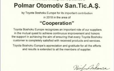 Certificate of Recognition from Toyota Boshoku Europe